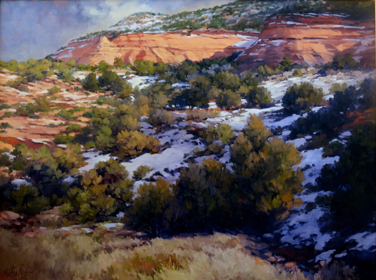 Winter Cliffs, Colorado National Monument, measures 30ins by 36ins.