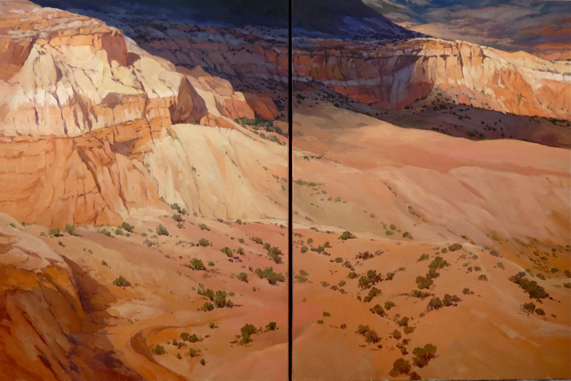 Canyon Shadows, Diptych, measures 40ins by 60ins.