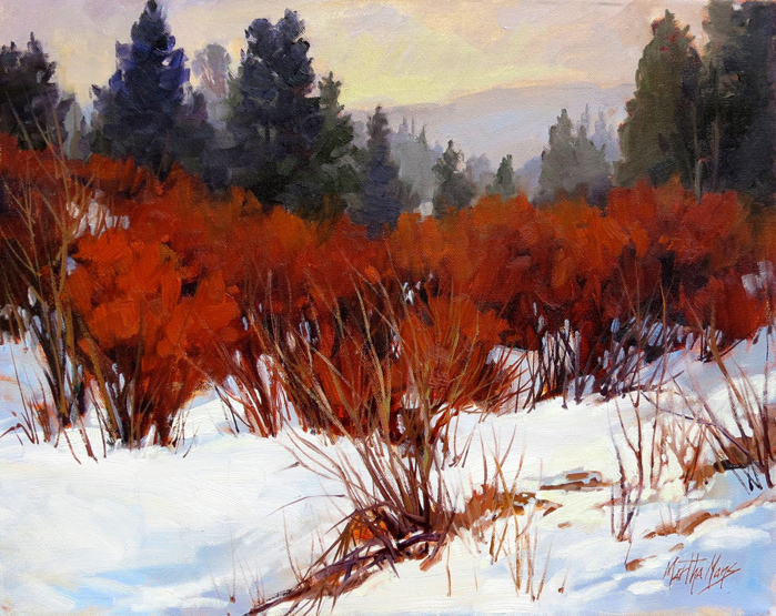 Red Willows, Rocky Mountain National Park, measures 11ins by 14ins.
